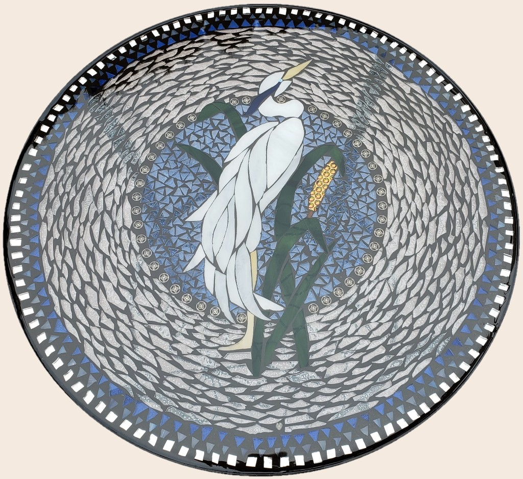 Blue Heron stained glass mosaic table by It Ain't Plain By Jane.