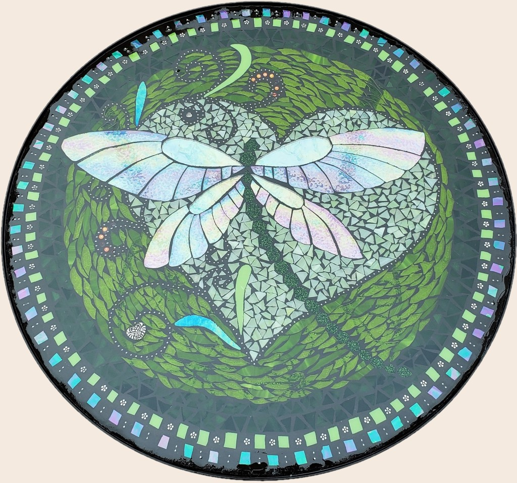 Green Dragonfly stained glass mosaic table by It Ain't Plain By Jane.