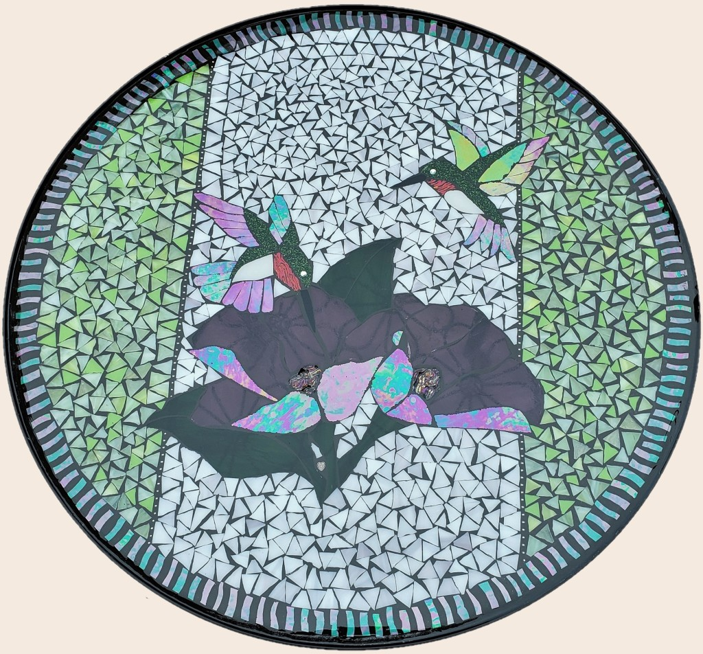 Hummingbird Garden stained glass mosaic table by It Ain't Plain By Jane.