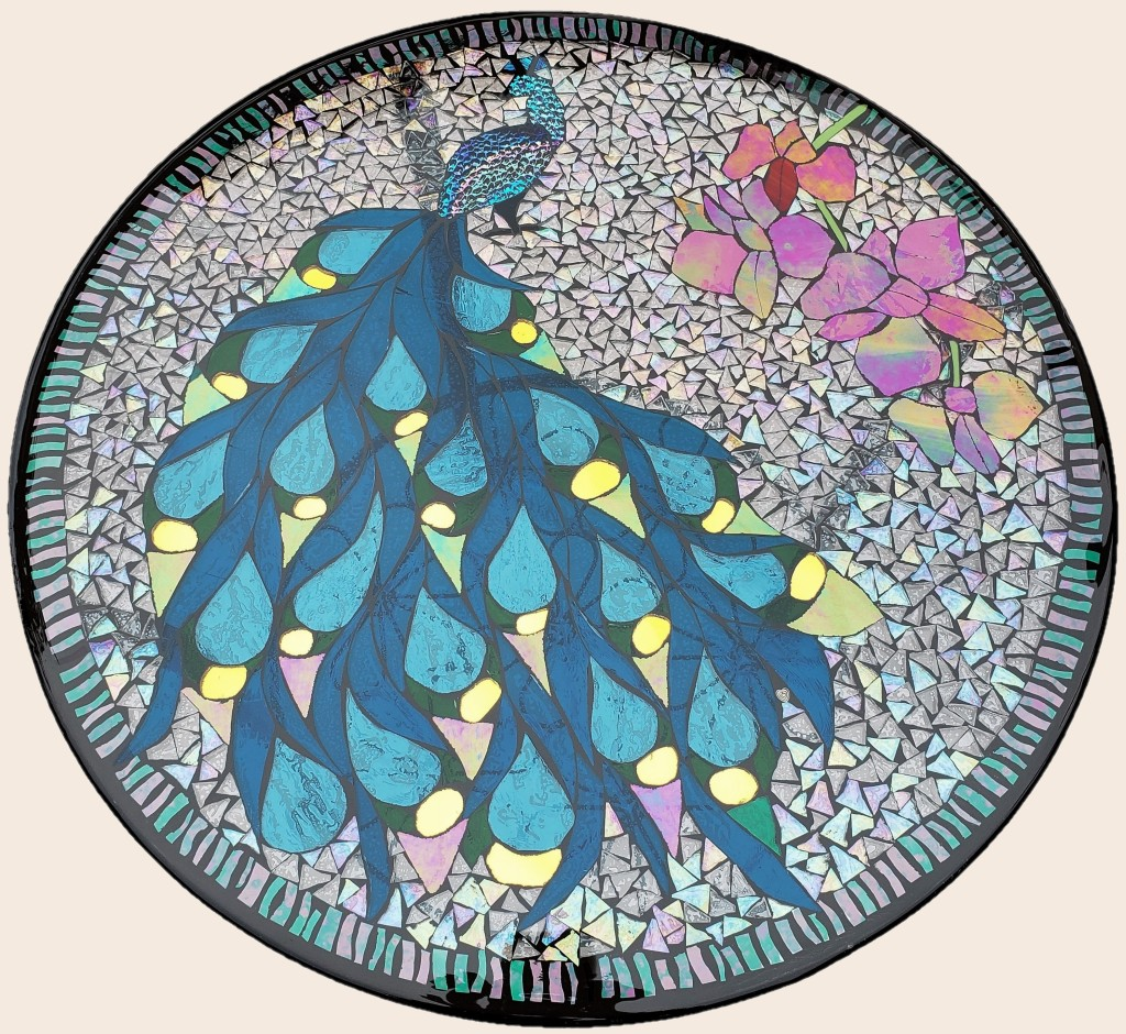 Pretty As A Peacock stained glass mosaic table by It Ain't Plain By Jane.