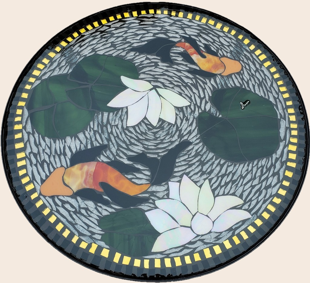 Swimming Koi stained glass mosaic table by It Ain't Plain By Jane.