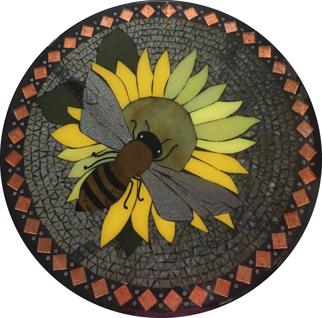 Busy Bee stained glass mosaic table by It Ain't Plain By Jane.